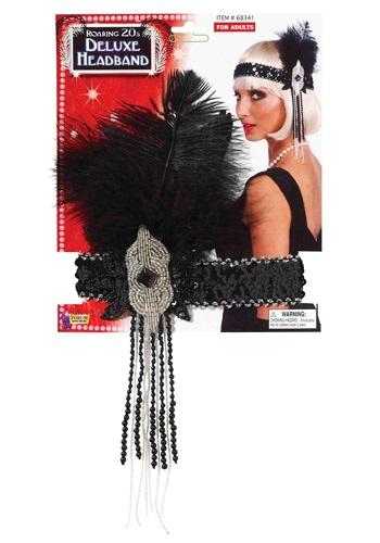 Black/Silver Deluxe Beaded Flapper Headband for kids