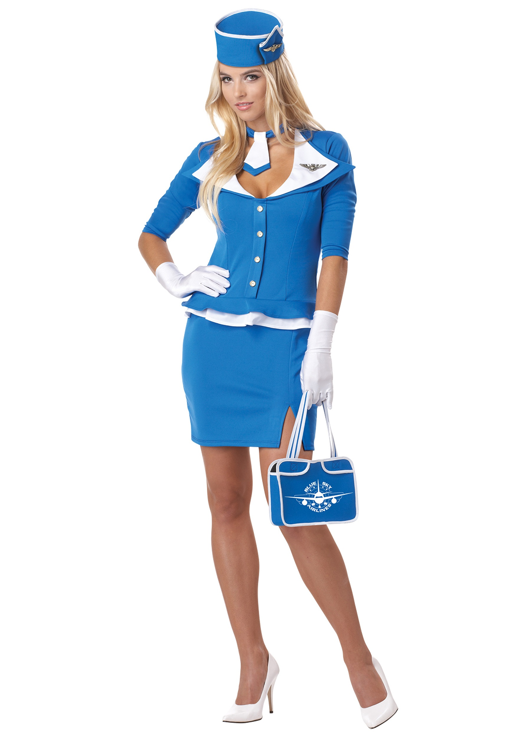 Retro Stewardess Costume  sc 1 st  Halloween Costumes & Womenu0027s Sexy Retro Stewardess Costume