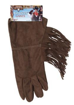 Brown Fringe Cowboy Gloves