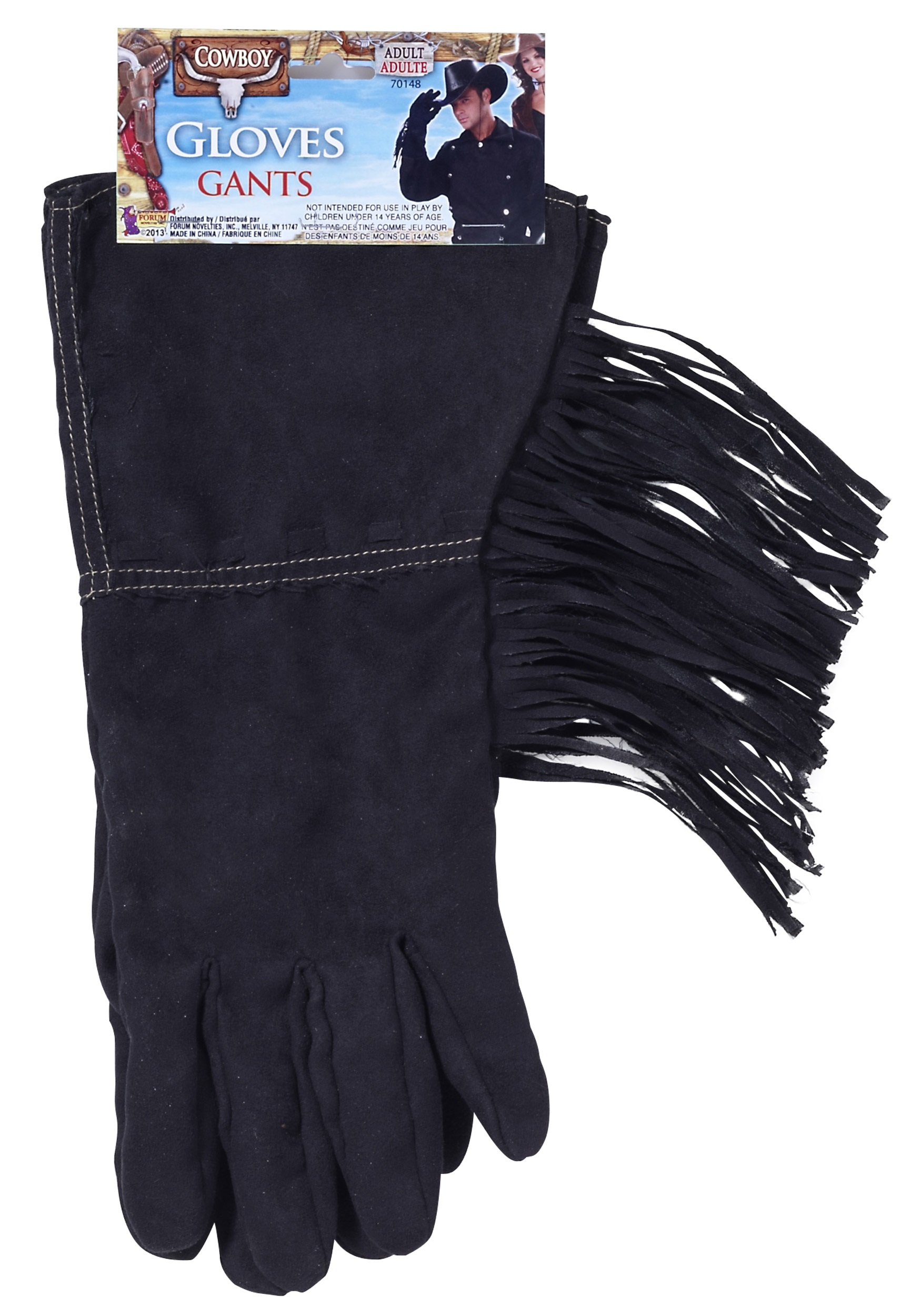 Black Fringe Cowboy Gloves FO70148
