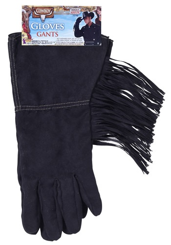 Black Fringe Cowboy Gloves
