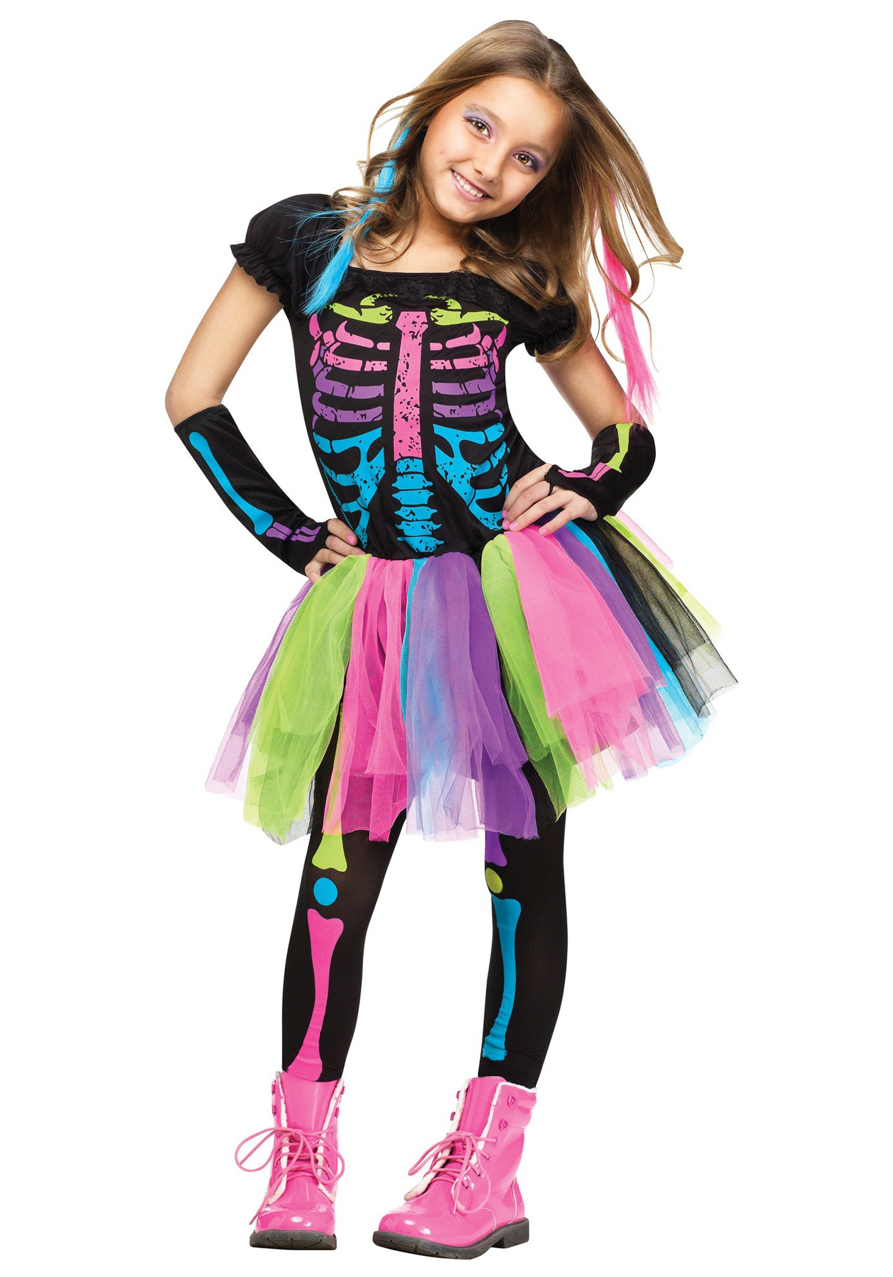 Girls funky punky bones costume for Cool halloween costumes for kids girls