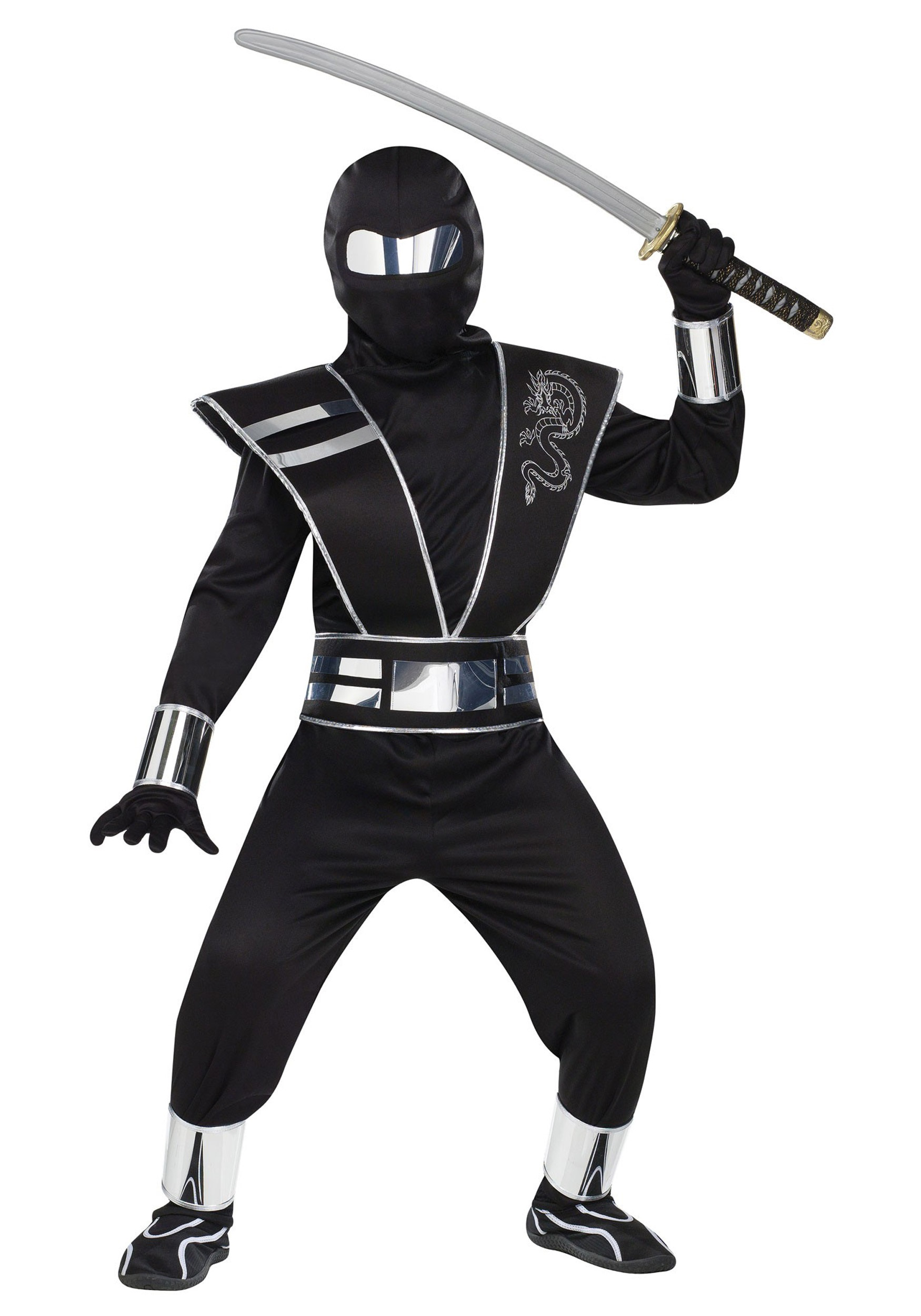 child silver mirror ninja costume. Black Bedroom Furniture Sets. Home Design Ideas