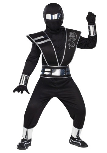 Click Here to buy Kids Silver Mirror Ninja Costume from HalloweenCostumes, USA Funds & Shipping