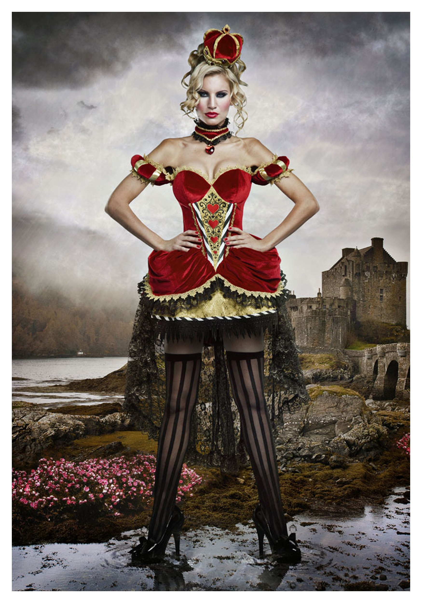 Deluxe Sexy Queen Of Hearts Red Velvet and Gold Corset Costume Dress - DeluxeAdultCostumes.com
