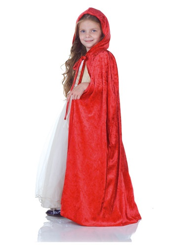 Child Red Panne Cape By: Underwraps for the 2015 Costume season.