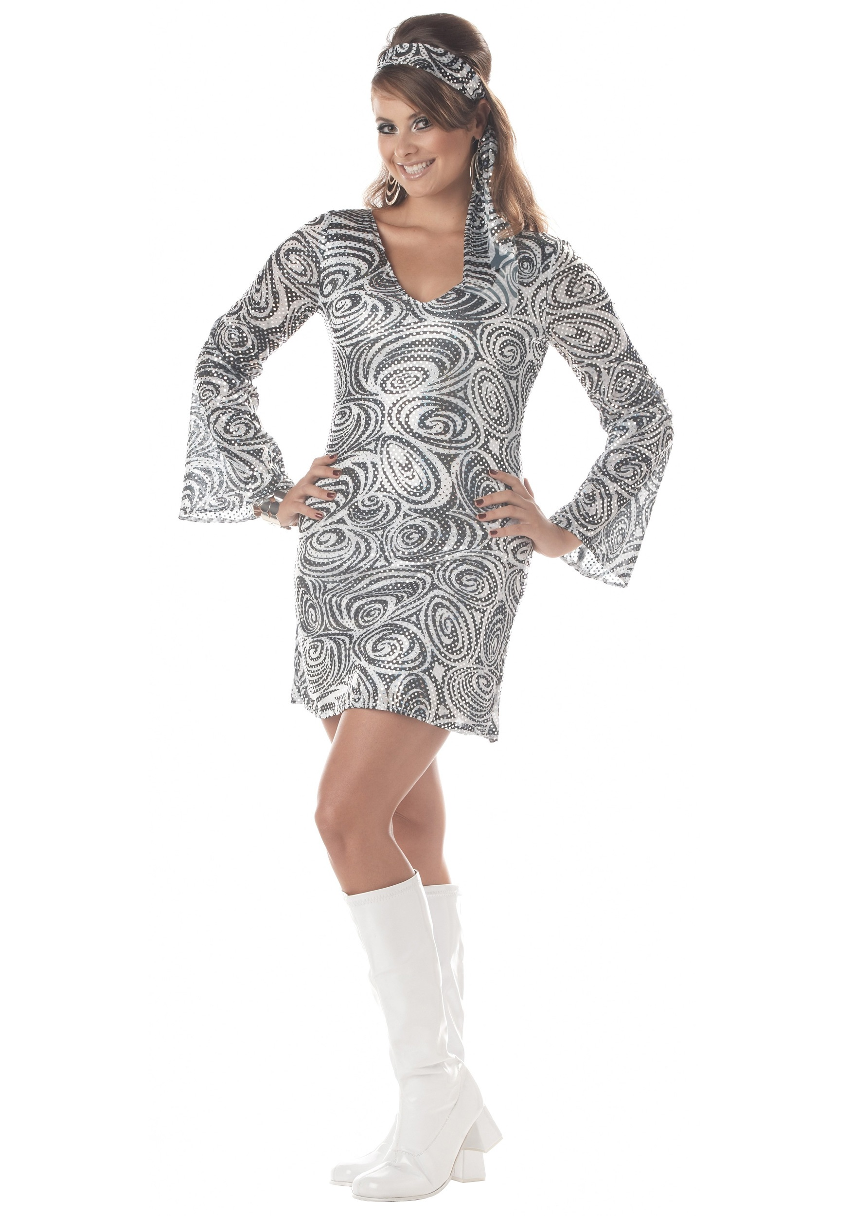 1d3e1cada2c Plus Size Disco Diva Dress Costume - Adult Disco Party Costumes 1X 2X 3X