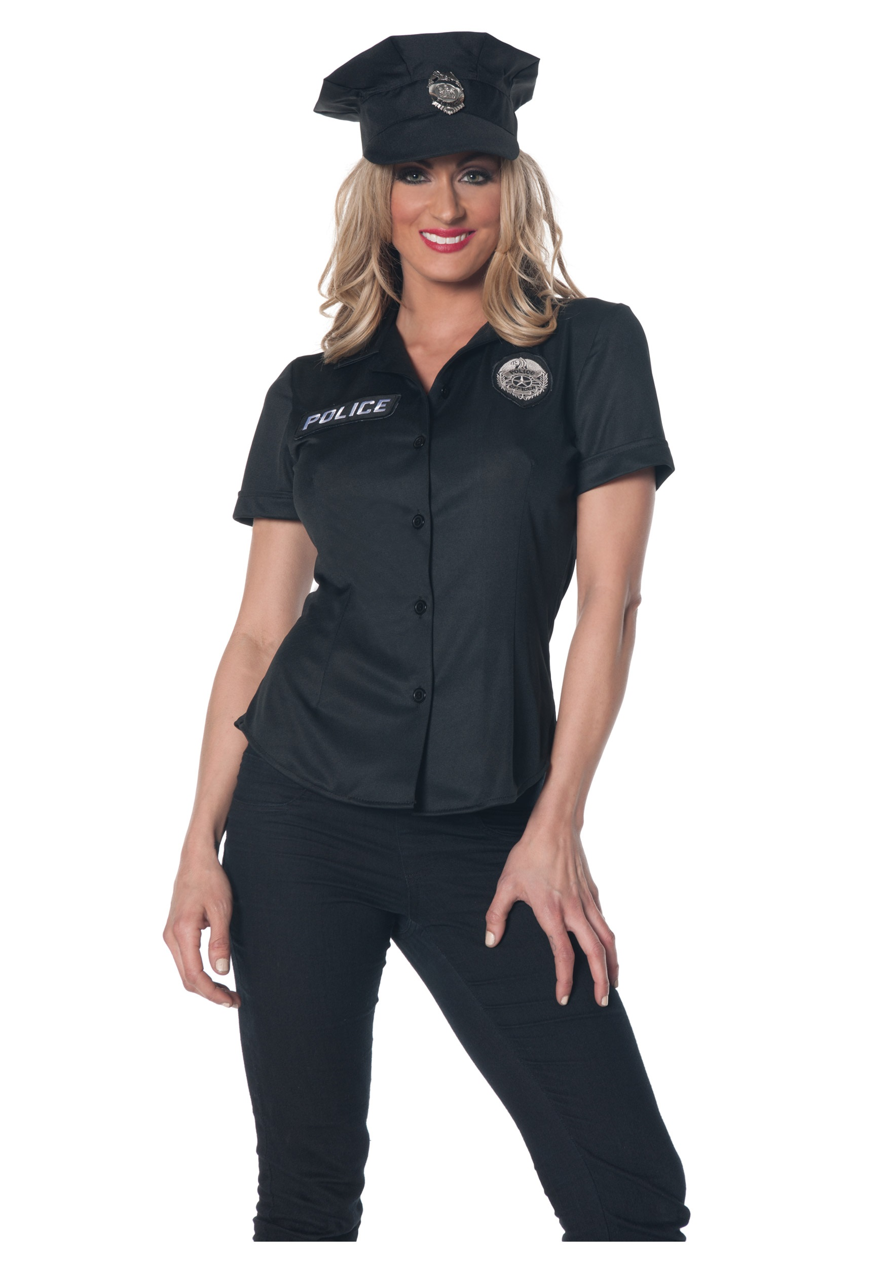 womens police shirt costume - Girls Cop Halloween Costume
