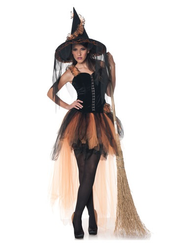 Click Here to buy Hallows Eve Womens Orange & Black Witch Costume from HalloweenCostumes, CDN Funds