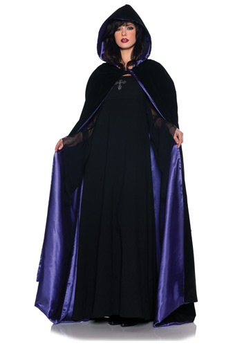 Deluxe Velvet & Satin Hooded Cape