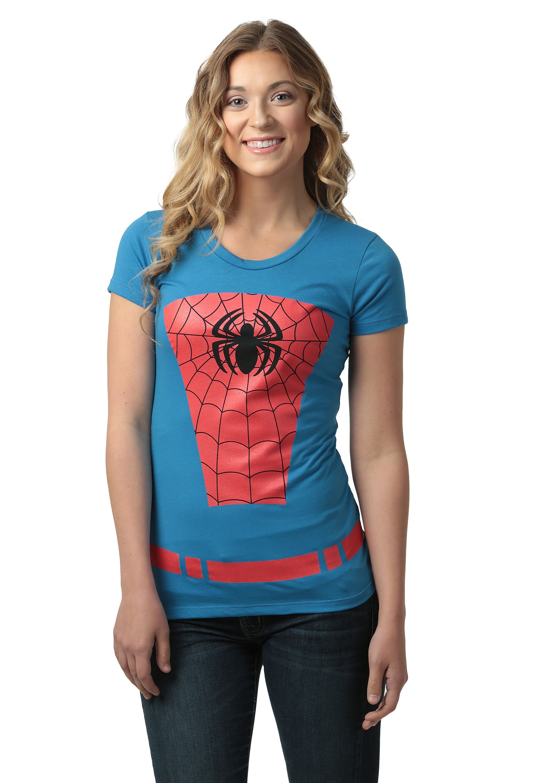 Diy halloween yard decorations - Womens Belted Spider Man Costume Tshirt