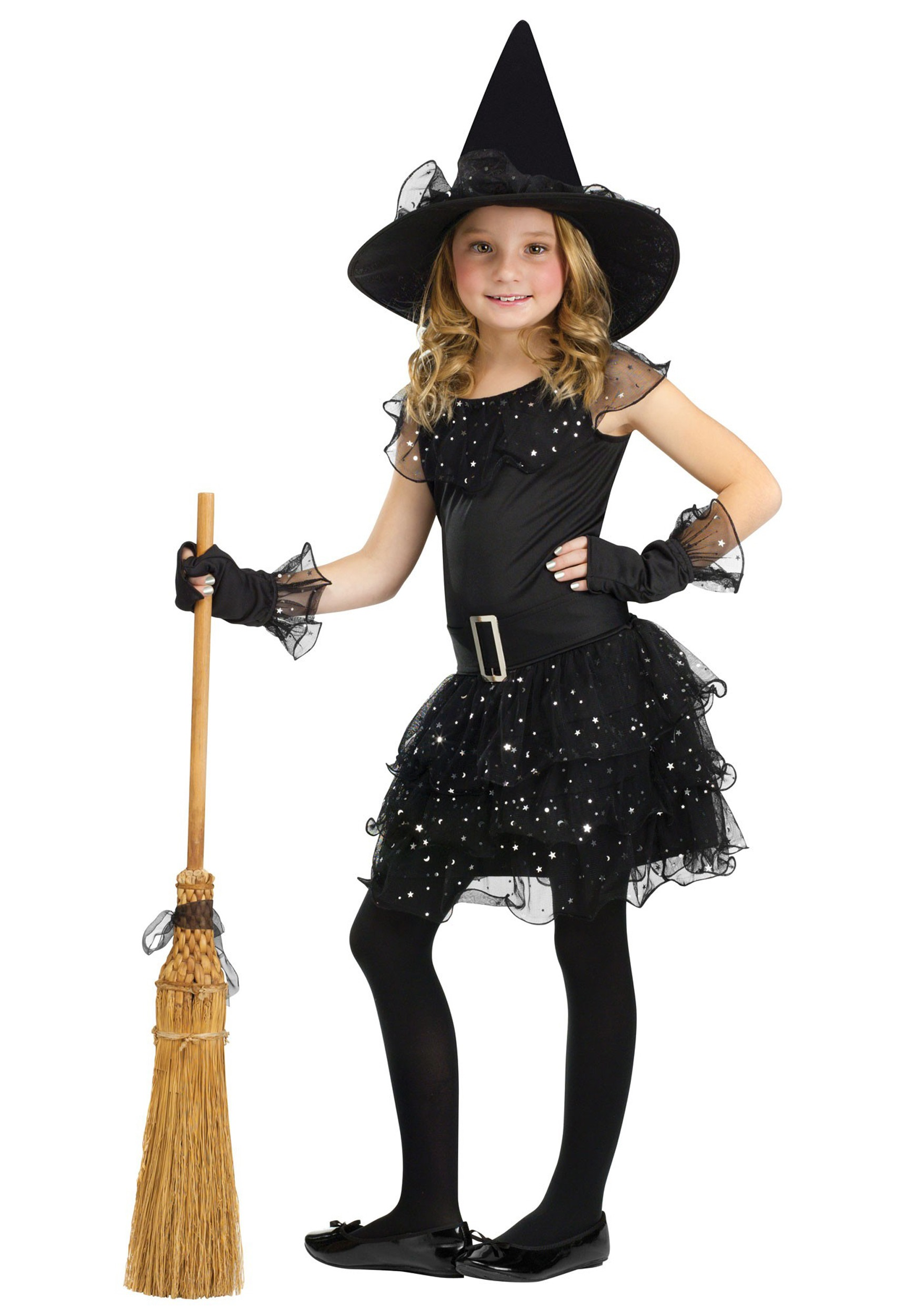 Girls glitter witch costume for Cool halloween costumes for kids girls