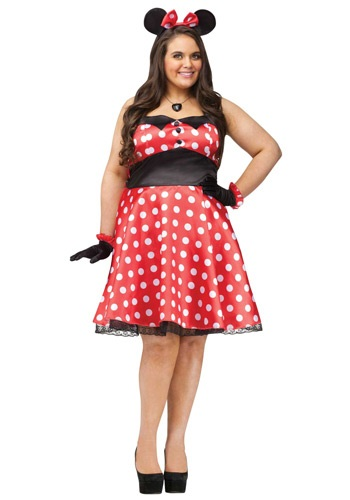 Click Here to buy Plus Size Retro Miss Mouse Costume from HalloweenCostumes, USA Funds & Shipping