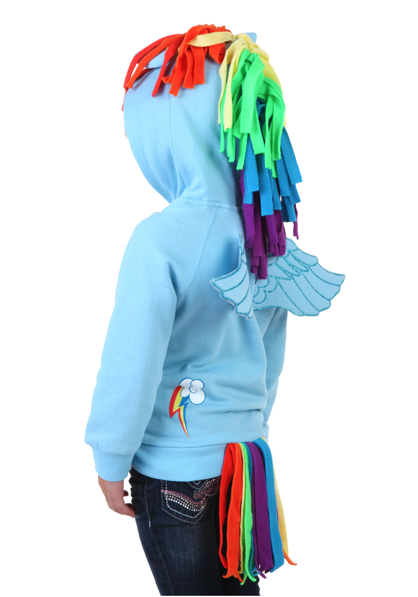 Any girl who dreams of flight will love this Kids My Little Pony Rainbow Dash Hooded Sweatshirt! It's made of soft, comfortable 60% cotton/40% polyester sweatshirt fleece, with front pockets and a separating zipper with a pull-tab shaped like a rainbow lightning bolt.