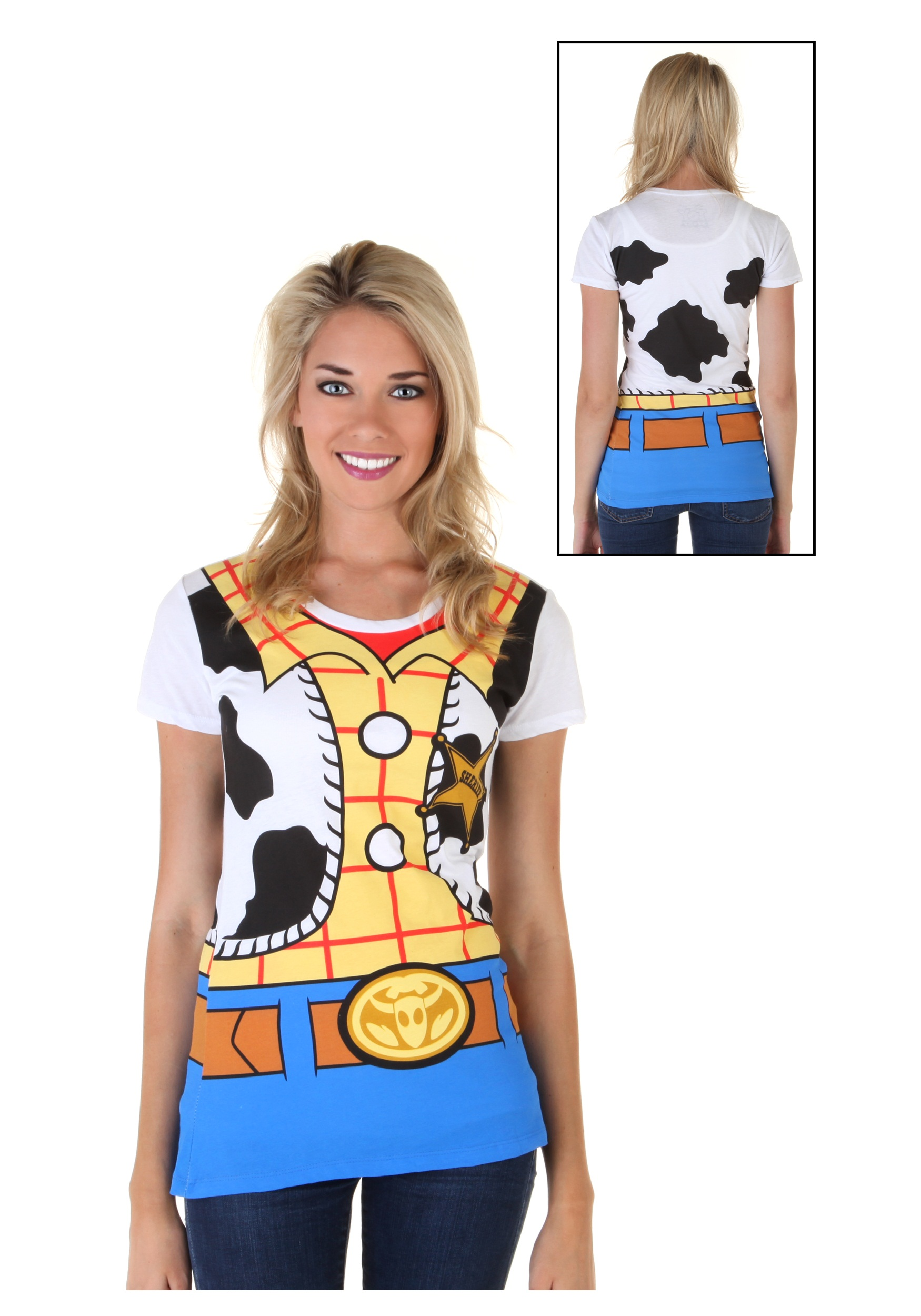 Toy story costumes adult kids disney halloween costume womens toy story i am woody costume t shirt front solutioingenieria Images
