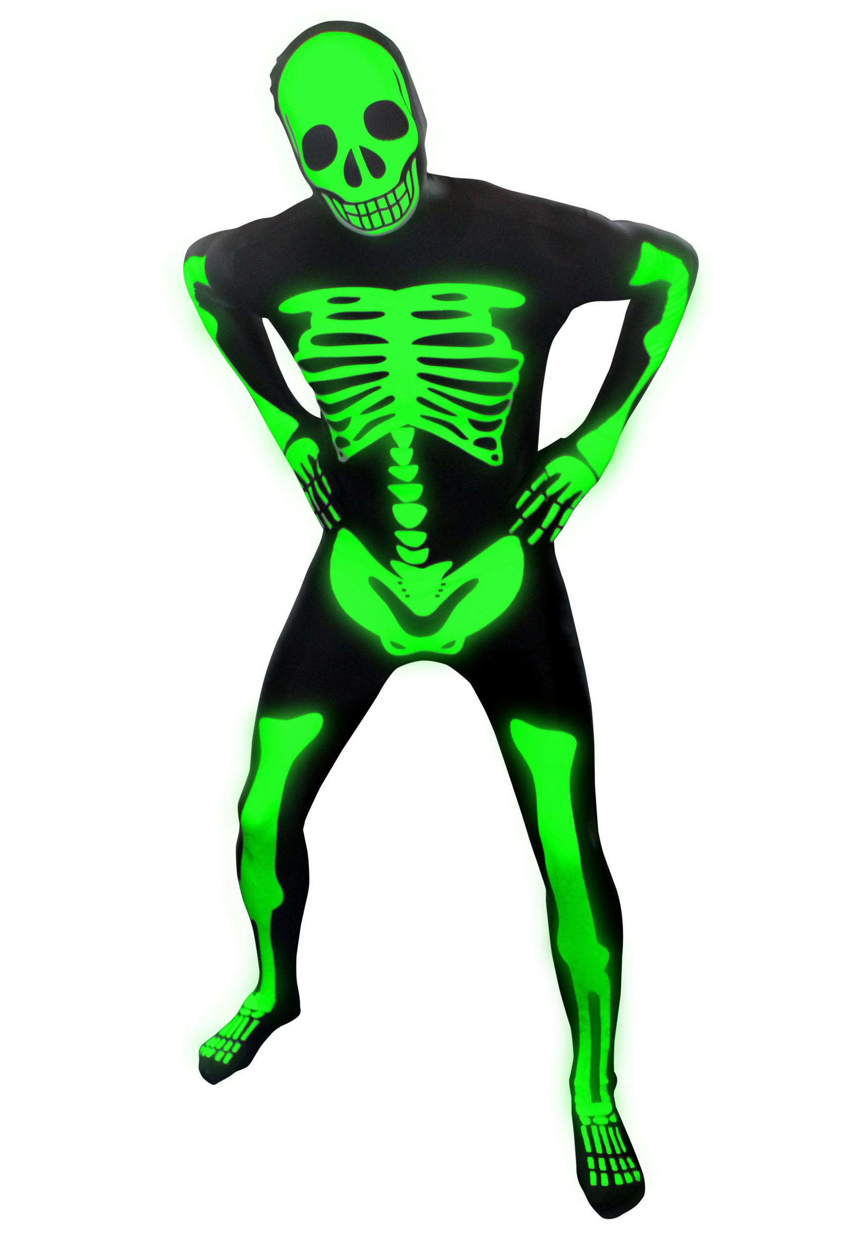 sc 1 st  Halloween Costumes & Mens Glow Skeleton Morphsuit
