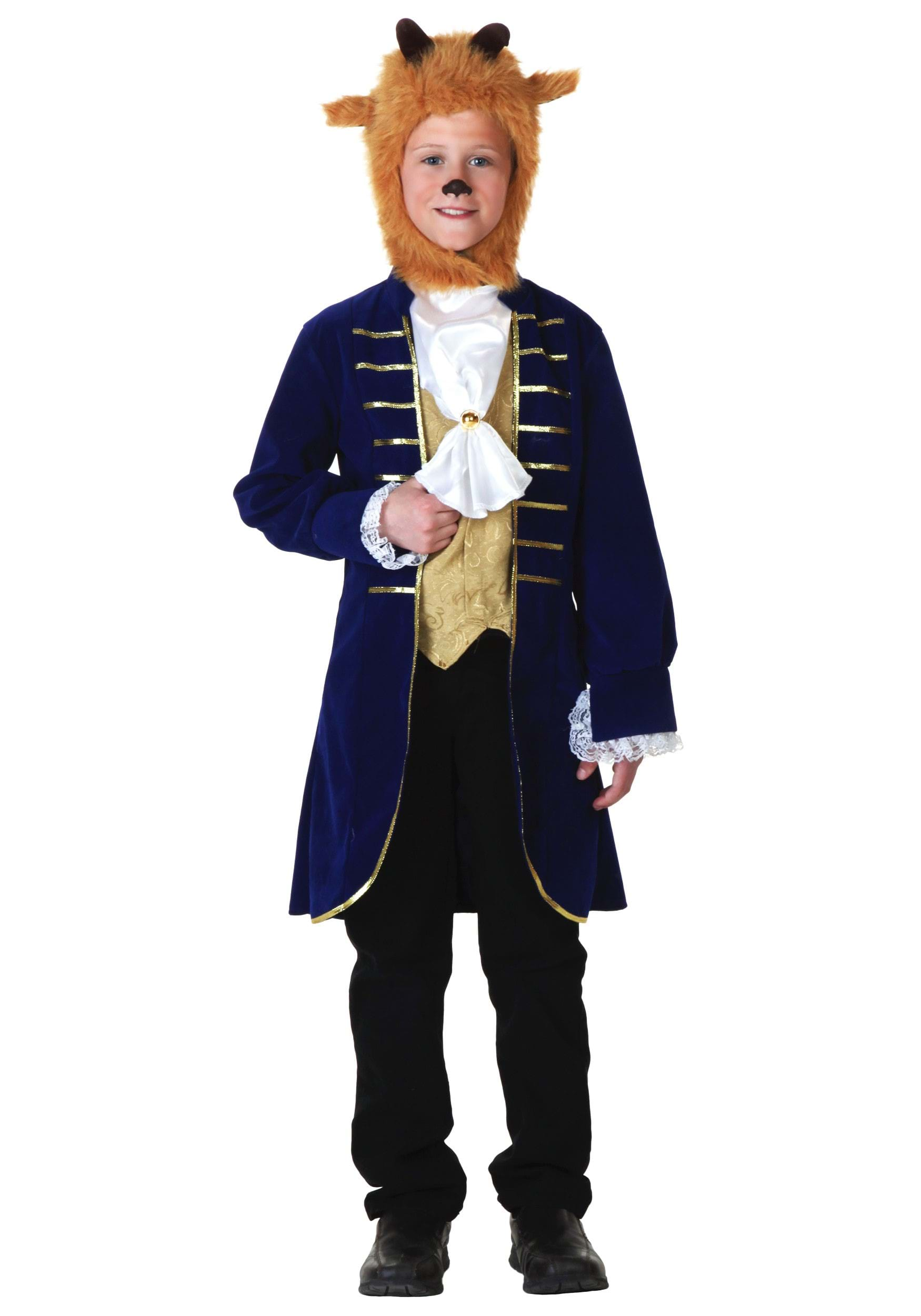 Beauty and the Beast child beast costume for boys including Jacket Vest Front Ascot Hood