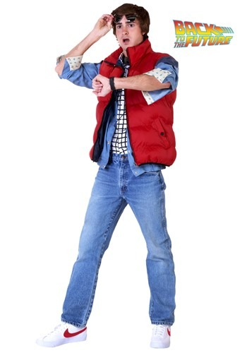 back to the future,The people of 1955 just don't understand fashion like the people of 1985. Biff and his goons seem to think Marty McFly's vest is some kind of life jacket, even though it's the epitome of cool in 1985. Biff probably doesn't even realize that it's the only clothing perfectly designed for activities like driving Doc Brown's DeLorean through the fabric of time, going on a date with your mom from the past, or seeing what your kids are up to 30 years in the future. Then again, it's hard to expect a guy who can't even put together the simplest of metaphors to understand fashion from the future. But you've got more style sense than Biff, right?