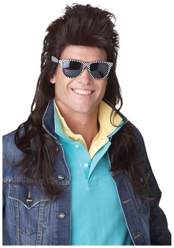 80s Brown Rock Mullet Wig