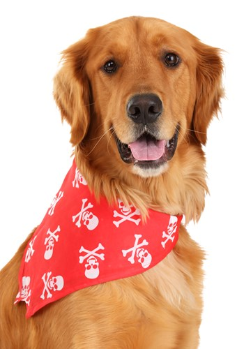 Red Skulls and Bones Bandana Pet Costume (Red Skull Costume)