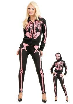 Women's Pink Skeleton Hooded Sweatshirt