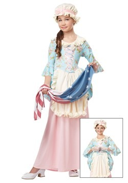 Girls Colonial Lady Costume No Flag
