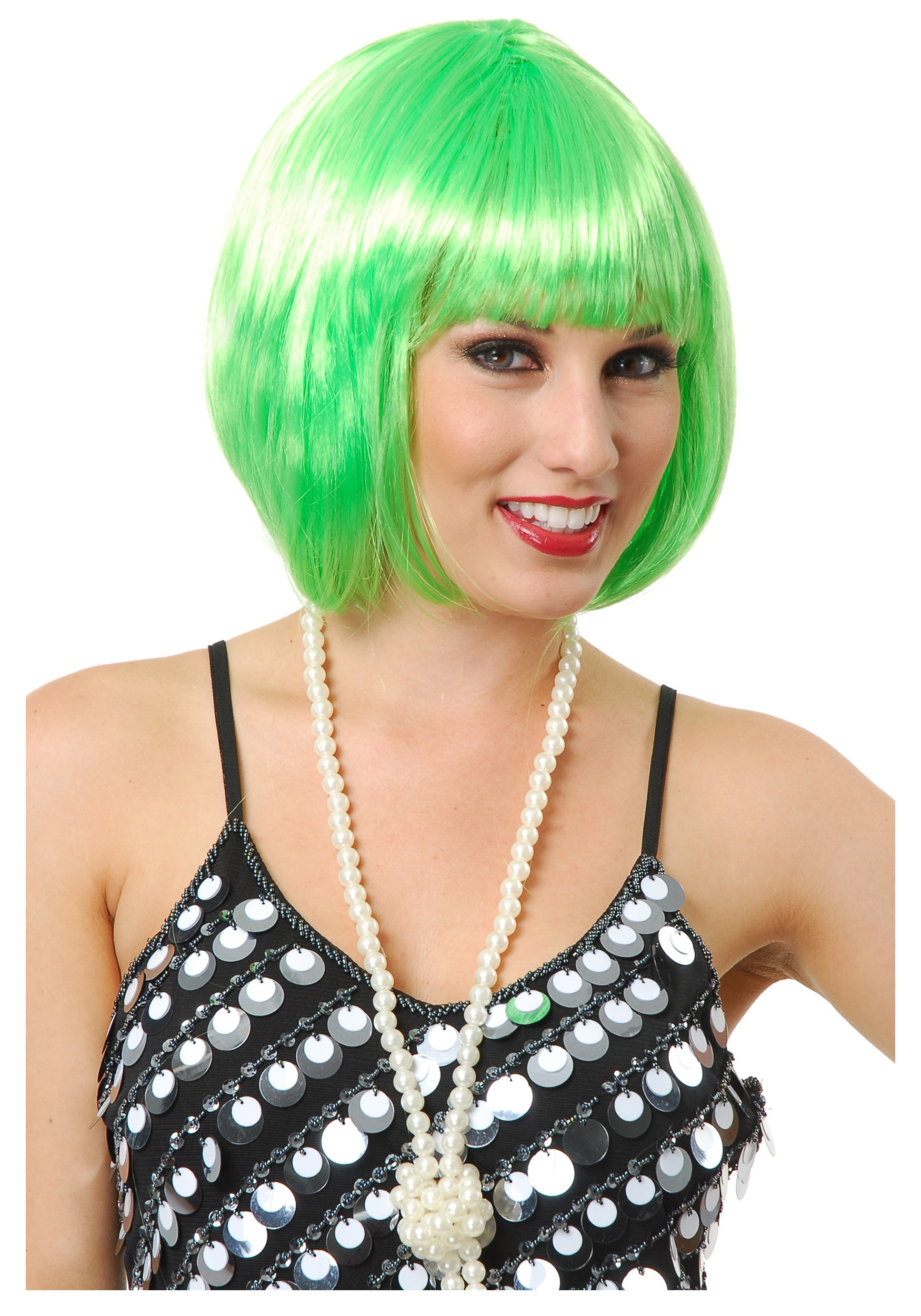Halloween Costume Ideas For Girls With Short Hair.Short Bob Lime Green Wig