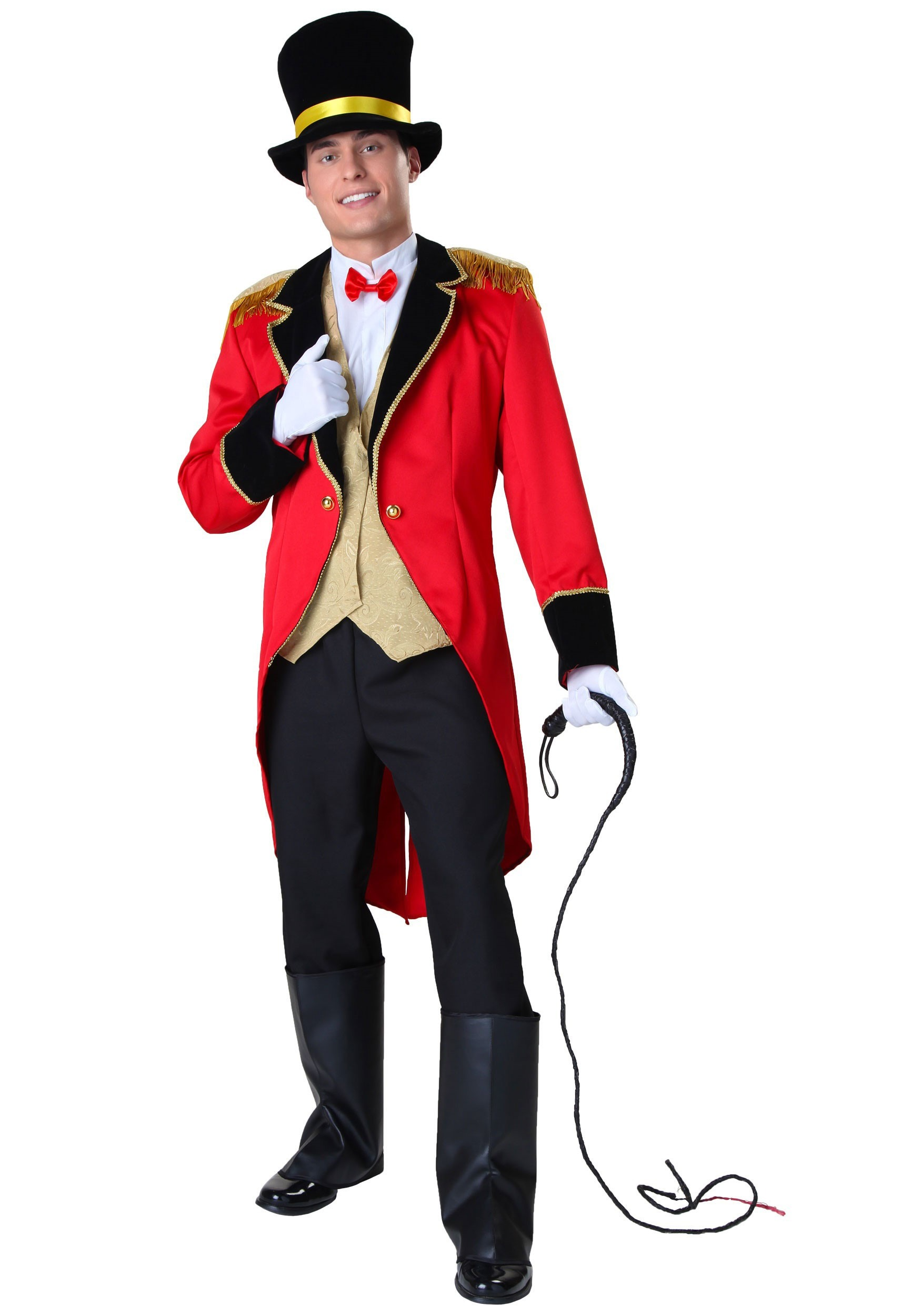 ADULT RINGMASTER COSTUME with Jacket Vest Front Bow Tie Hat Boot Tops