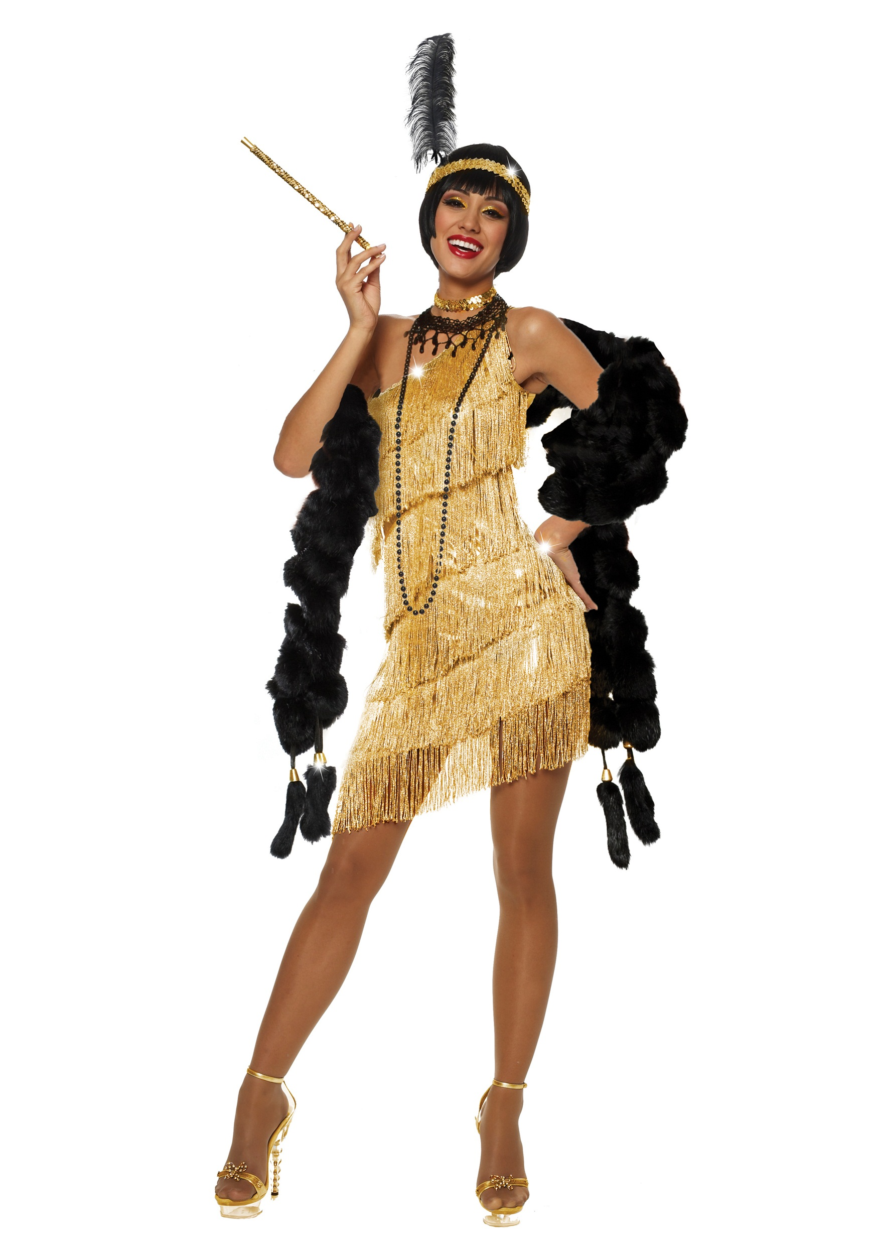 women 39 s dazzling gold flapper costume. Black Bedroom Furniture Sets. Home Design Ideas