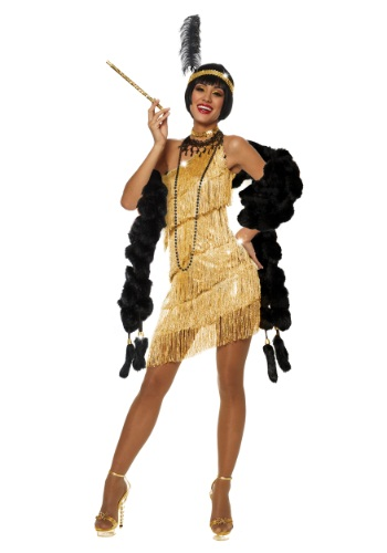 Womens Dazzling Gold Flapper Costume By: Goddessey for the 2015 Costume season.