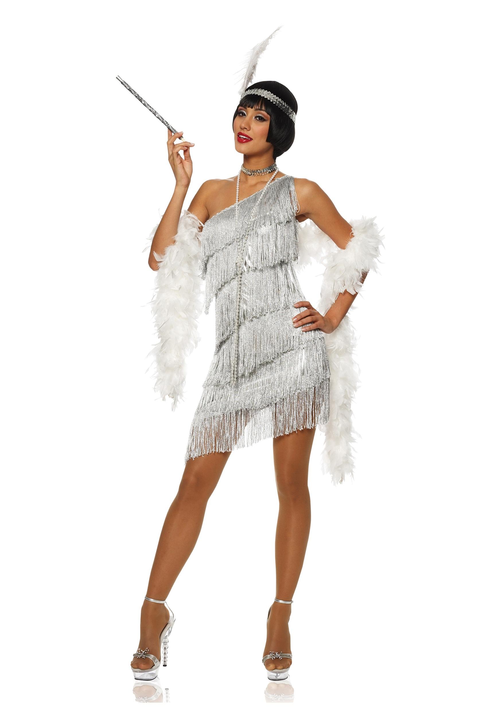 Women's Dazzling Silver Flapper Dress