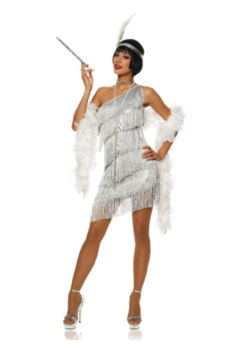 Click Here to buy Womens Dazzling Silver Flapper Dress from HalloweenCostumes, USA Funds & Shipping