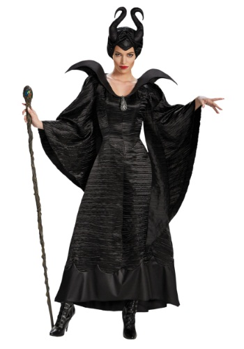 Click Here to buy Adult Deluxe Maleficent Christening Black Gown Costume from HalloweenCostumes, CDN Funds