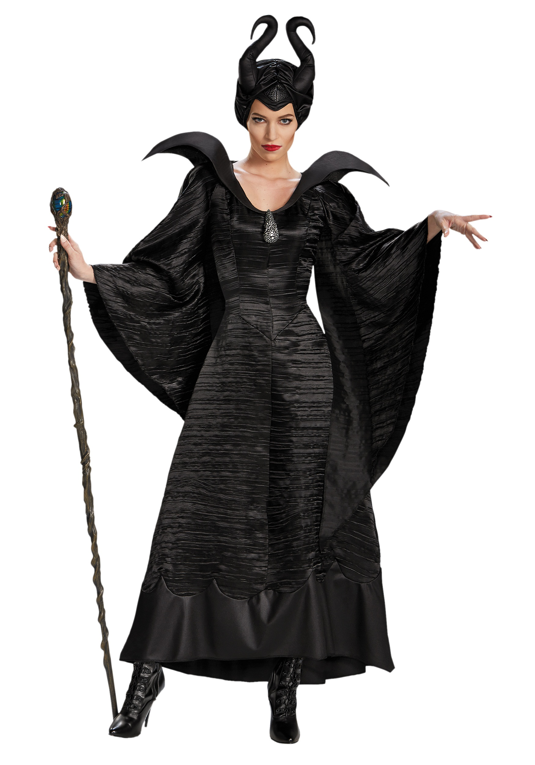Adult Women Deluxe Plus Size Maleficent Christening Gown Costume Cosplay SU