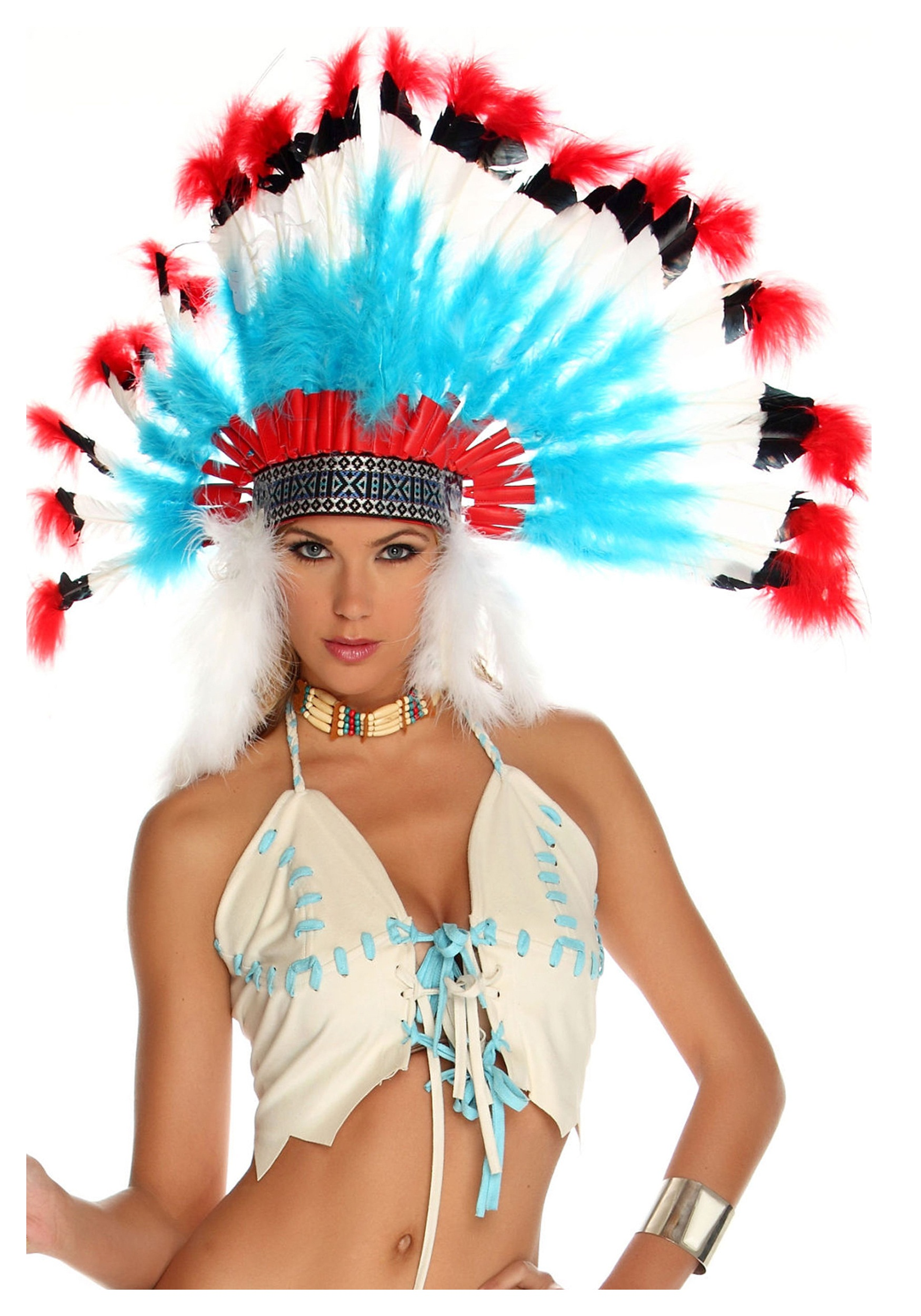 Native American Headdress  sc 1 st  Halloween Costumes & Red White and Blue Native American Headdress