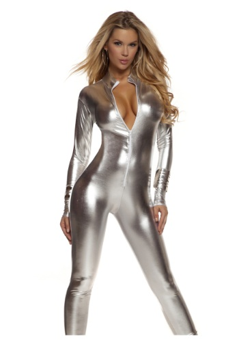 Solid Silver Womens Mock Neck Jumpsuit Costume