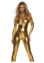 Womens Solid Gold Mock Neck Jumpsuit