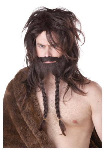Brown Viking Wig, Beard and Mustache