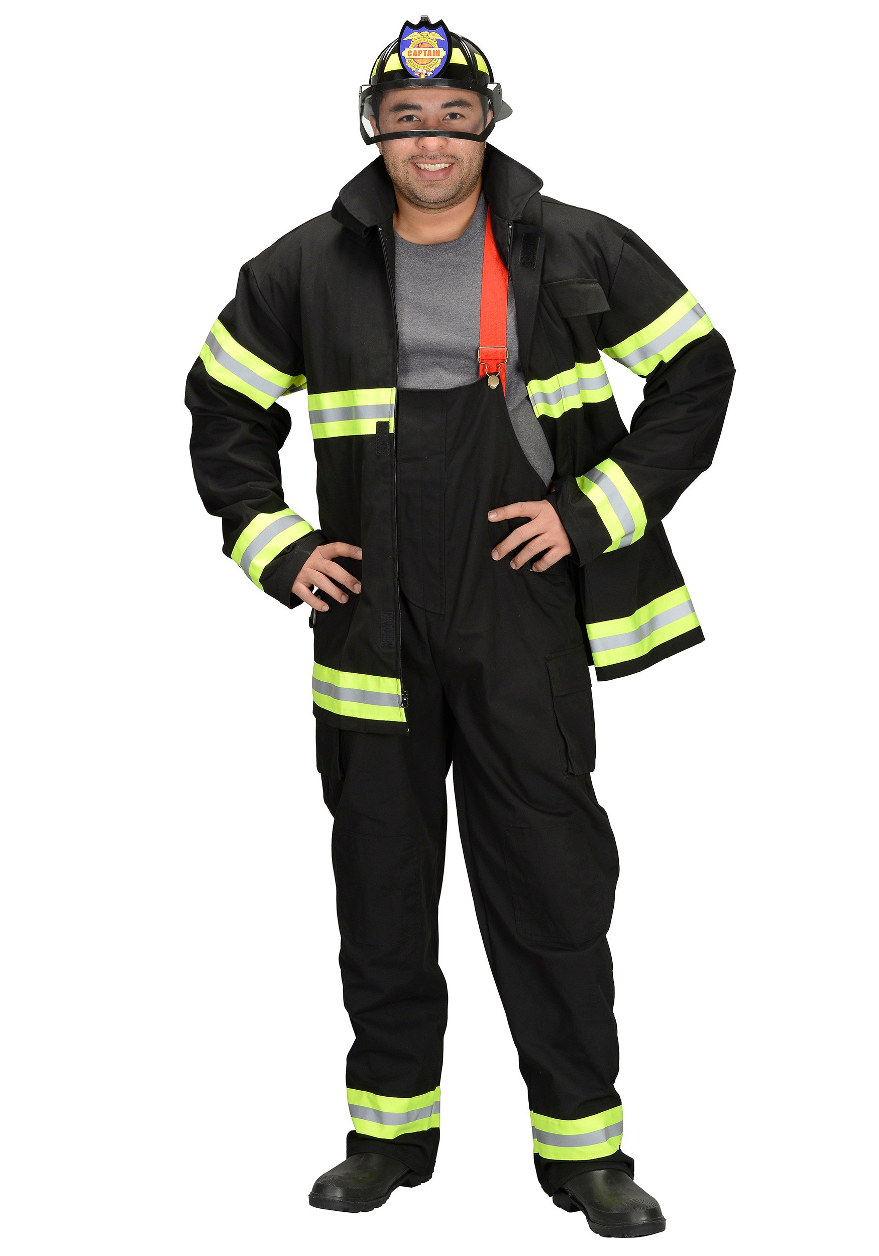 Adult Fire Fighter Black Costume Fancy Dress Set