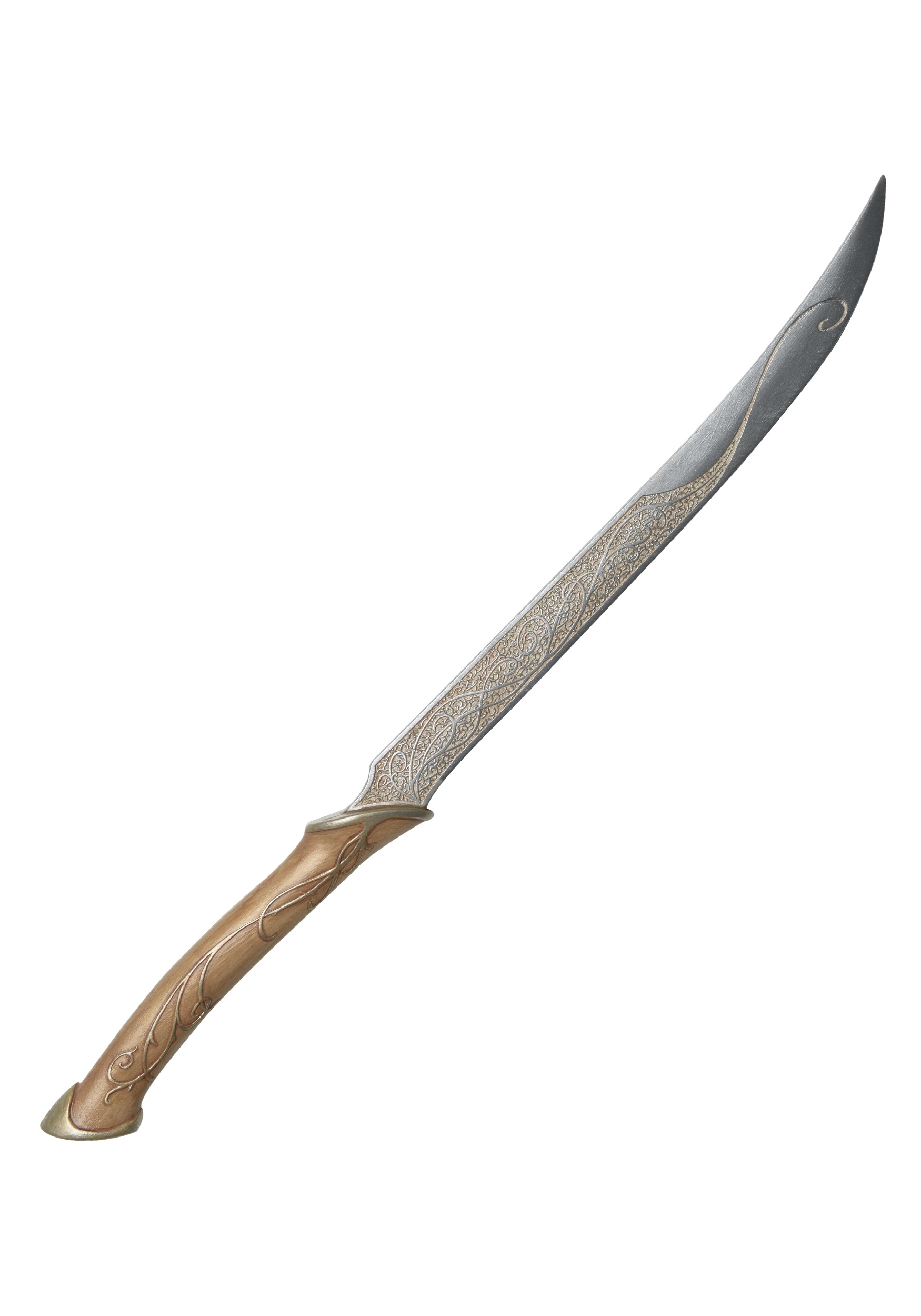 Legolas long blade costume accessory plastic Painted details give elvish design on blade and handle