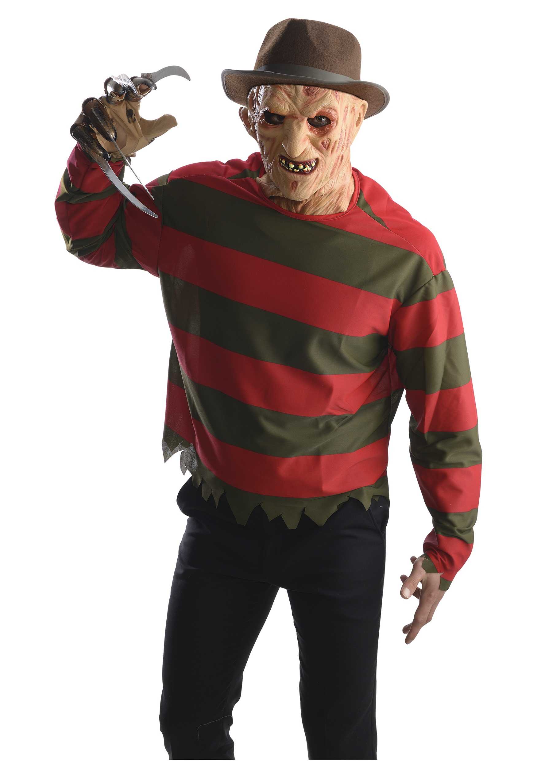 adult freddy krueger costume shirt w/ mask