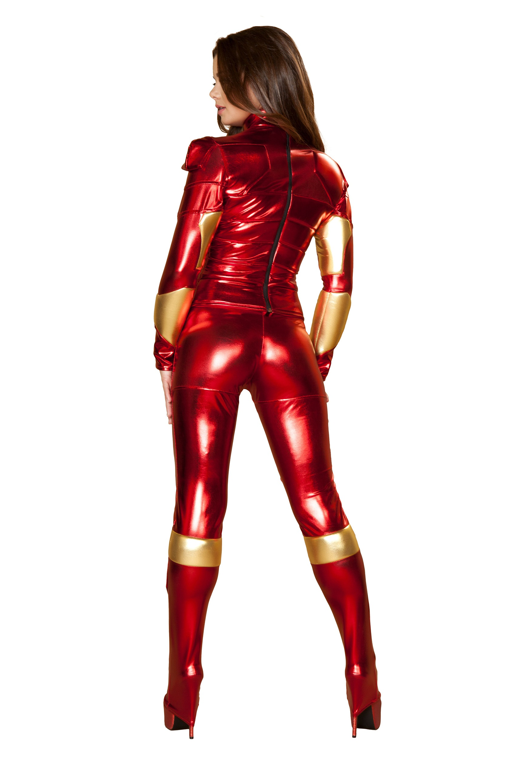 Womens Hot Metal Superhero Costume allz