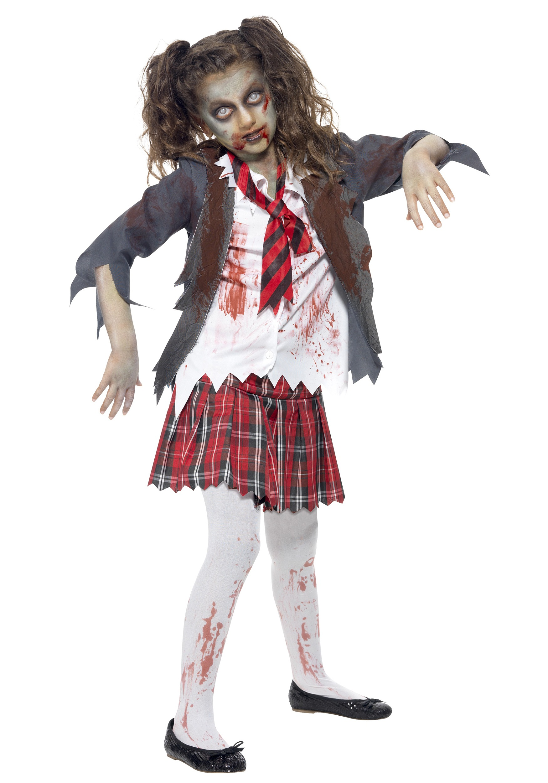 Kids zombie school girl costume for Cool halloween costumes for kids girls