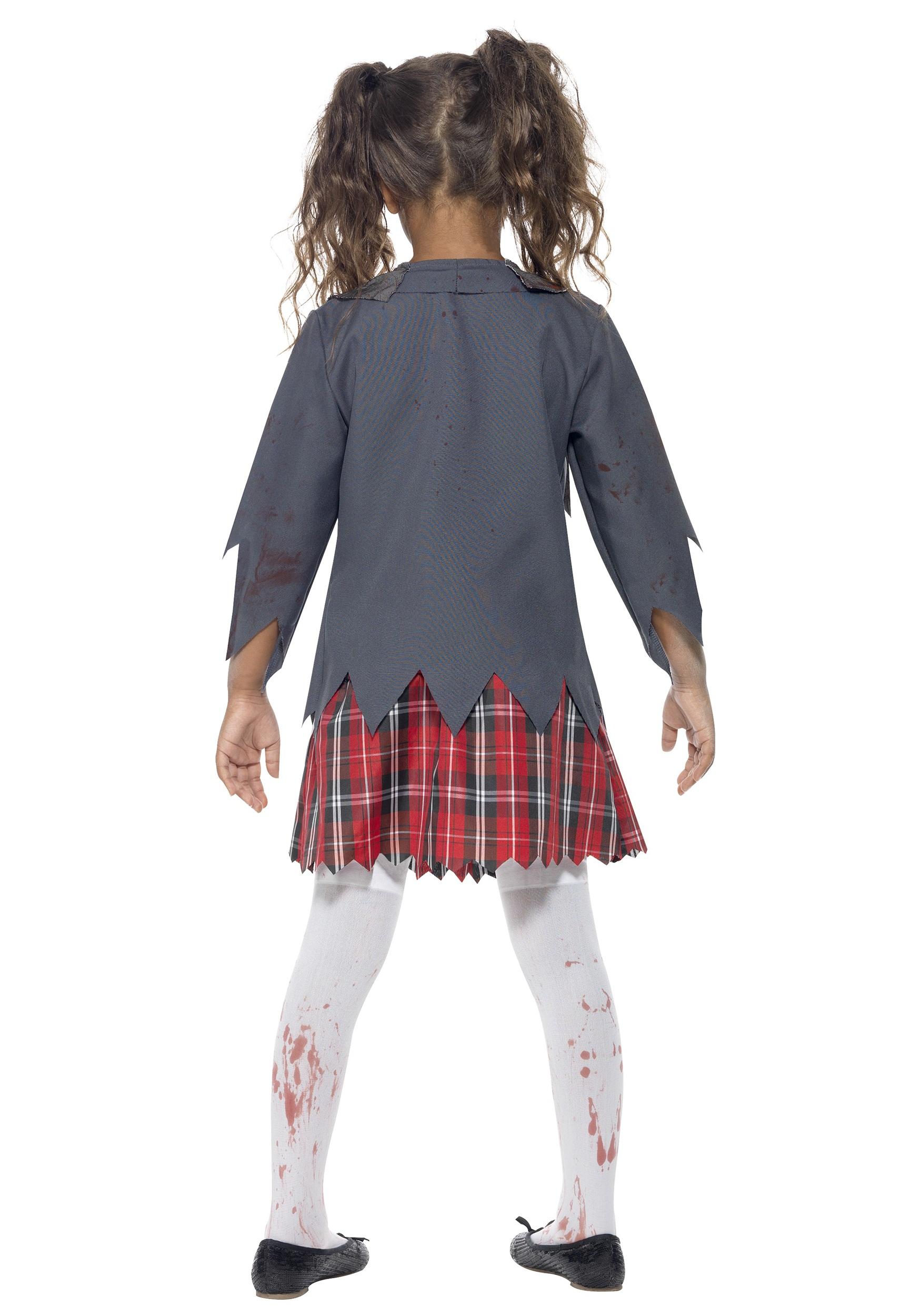 Zombie School Girl Costume For Kids-5561