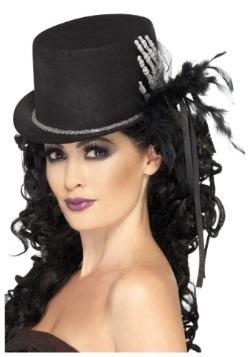 Black Top Hat with Skeleton Hand