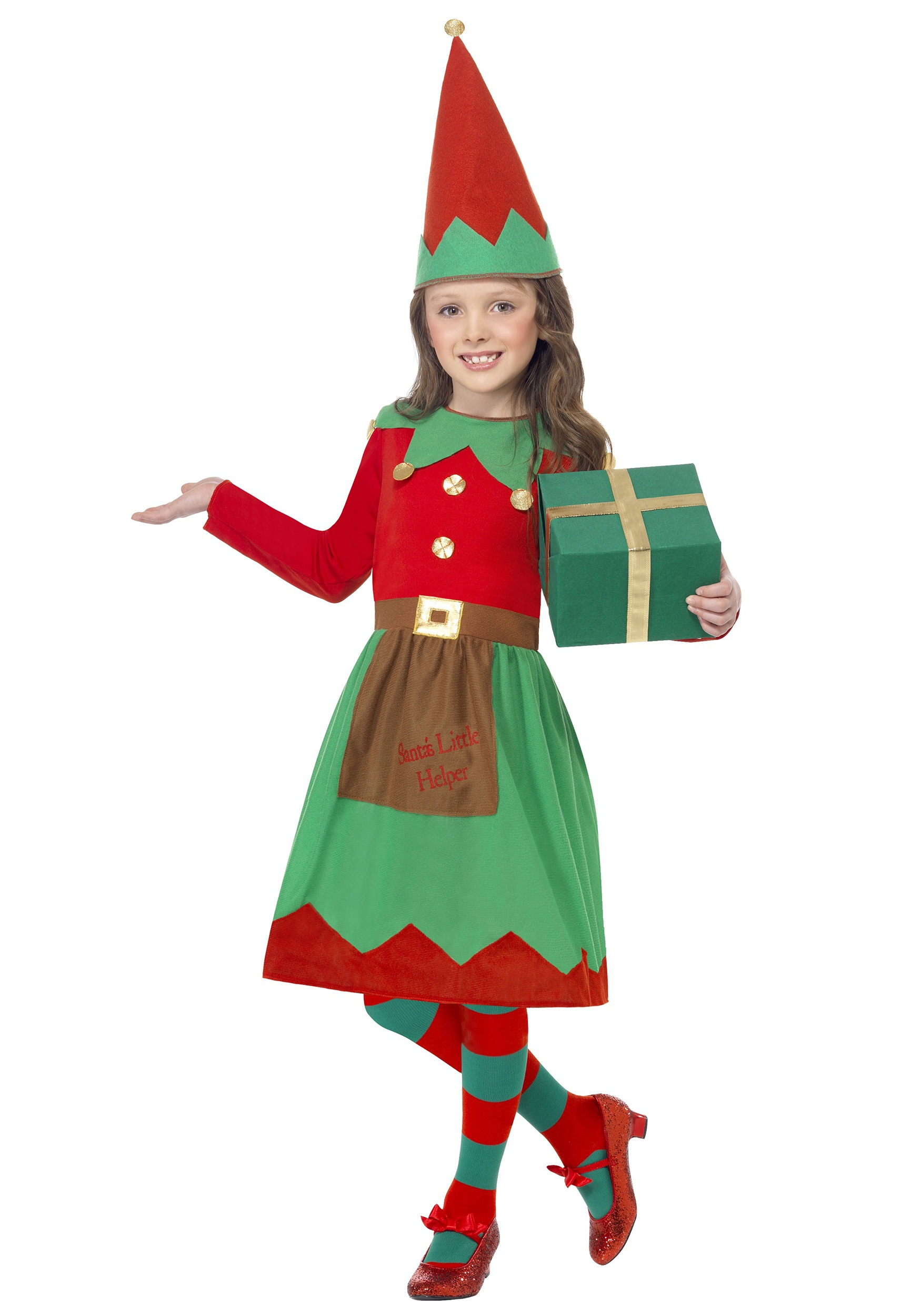 girls santa 39 s little helper costume. Black Bedroom Furniture Sets. Home Design Ideas
