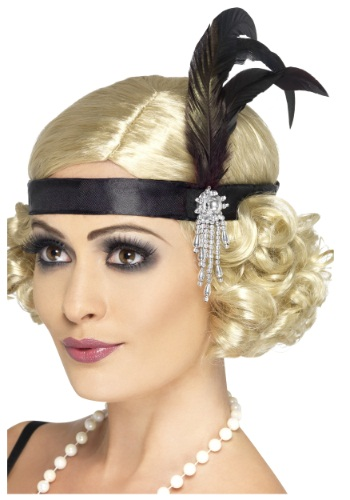Womens Jeweled Black Flapper Headband
