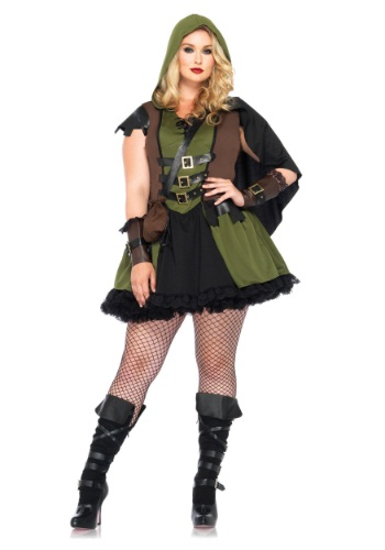 Click Here to buy Darling Robin Hood Plus Size Costume from HalloweenCostumes, CDN Funds