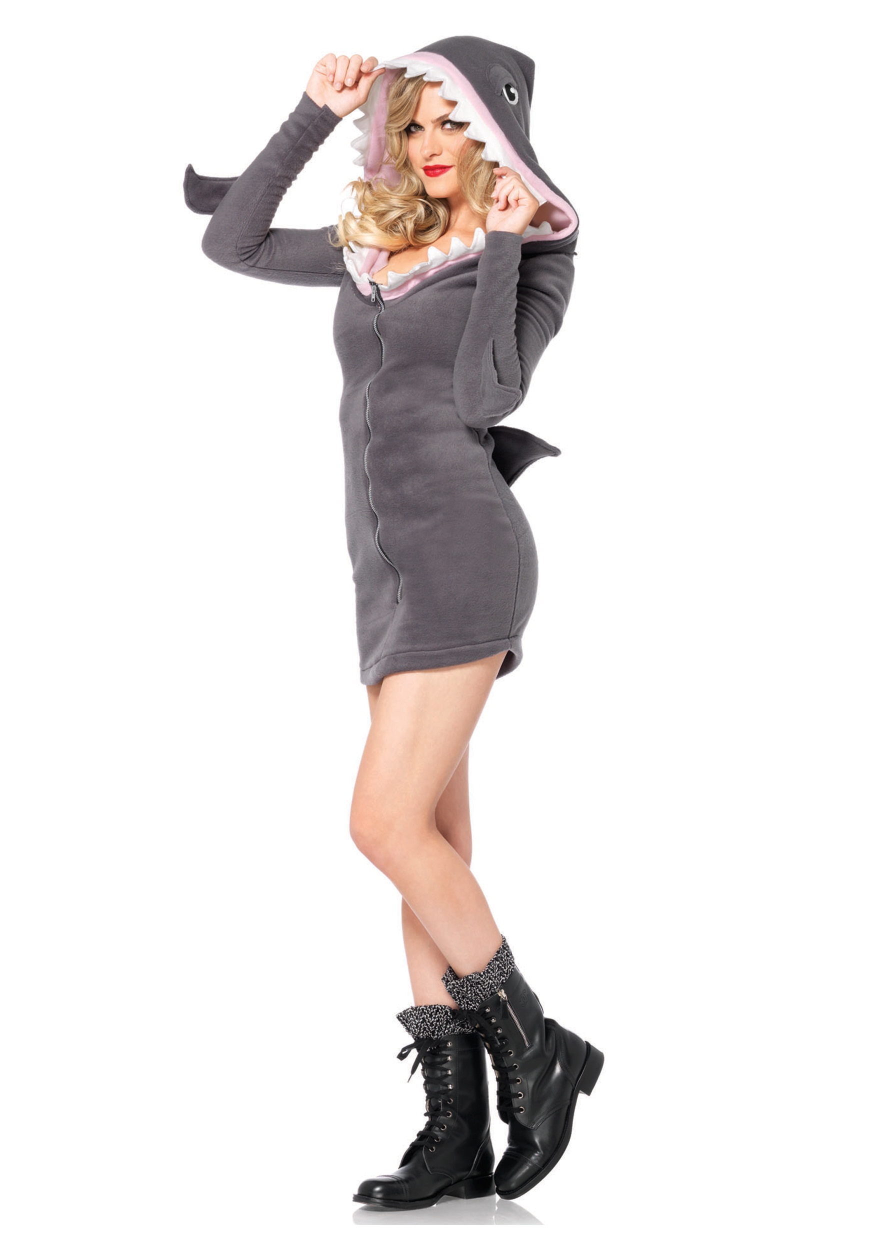 They'll all be trying to get trapped in your jaws in this Sexy Shark costume featuring a metallic silver mini dress with gill print sides, attached hood with shark teeth lining and attached shark fin.