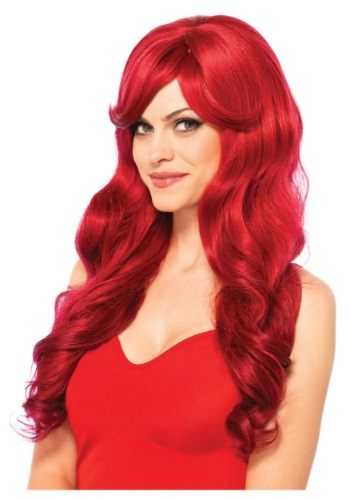 Womens Long Wavy Red Wig